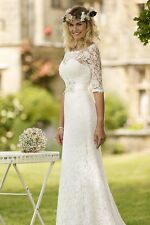 Vintage Bateau Court Train Lace Wedding Dress 3/4-Length Sleeve Bridal Gown 2017