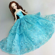 Blue Wedding Gown Dresses Clothes Party For Princess Barbie Doll Gift