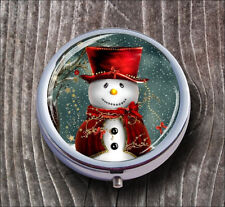 SNOWMAN WITH RED HAT PILL BOX ROUND METAL  -hft9Z