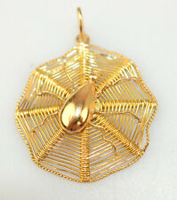 "VINTAGE 18K SOLID YELLOW GOLD SPIDER IN WEB PENDANT OR LARGE CHARM 1"" DIAMETER"