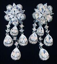 EARRING using Swarovski Crystal Dangle Drop Wedding Bridal Rhodium Silver CZ62