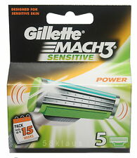 5 Gillette Mach3 Sensitive Power Rasierklingen 5 Klingen original Pack - no 8x