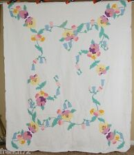 Vintage 30's Spring Flower Virginia Blue Bell & Pansy Applique Antique Quilt!