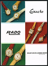 1950's Old Vintage 1955 Schlup & Co. Rado & Exacto Watches Watch Art Print AD