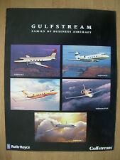 GULFSTREAM ROLLS-ROYCE FAMILY OF BUSINESS AIRCRAFT SPECIFICATIONS BROCHURE 1998