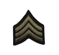 Military Rank Stripes Chevrons Army Green Iron On Applique Patch FD
