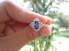 .36 Carat Diamond With Blue Sapphire White Gold Ring 18K sep013 PAYPAL