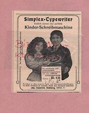 HAMBURG, Werbung 1908, Jes. Süsskind Simplex-Typewriter