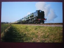 POSTCARD C6 SR 4-6-2 LOCO NO 34046 BRAUNTON & 34028 EDDYSTONE LEAVING BLUE ANCHO