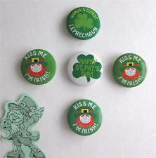 5 VINTAGE ST.PATRICK'S DAY METAL BUTTON PINS-GREAT FOR PARTIES,CLOTHING,HATS,ETC