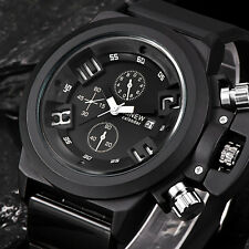 Waterproof Men Fashion Silica Sport Date Chronograph Analog Quartz Wrist Watches