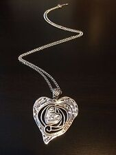 LARGE SILVER ABSTRACT METAL HEART PENDANT LONG CURB CHAIN LAGENLOOK NECKLACE UK