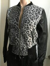 NWT AMBIANCE Women's MOTO JACKET Faux Leather Animal Print Long Sleeve sz M