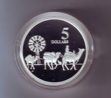 1997 SILVER Proof $5 Coin Masterpieces Camel Train Wool Bale Carrier Sheep -