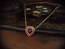 Vintage Ruby Red Crystal Heart Pendant Necklace. Gold Plated Figaro  Chain