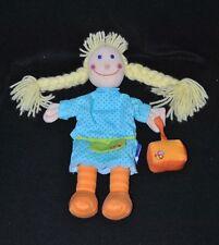 Peluche doudou poupée marionnette ITSLMAGICAL bleu vert sac orange 30 Cm NEUF