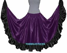 TMS Designer Satin Flamenco Skirt Belly Dance Tribal Gypsy Tiered Ruffle Jupe