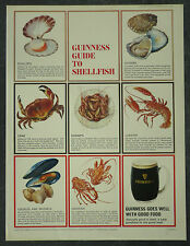 Old Original Magazine Advert Guinness Guide To Shellfish 1965