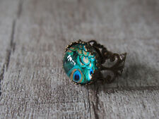 Peacock Feather Brass Filigree Adjustable Ring Statement Ring Glass Ring