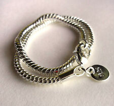 "New Bracelet 925 Silver Snake Chain Suitable for Charm Beads 7.5"" + Velvet Pouch"