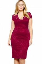 WOMENS RED LACE PARTY CLUB WEAR BODYCON MIDI DRESS EVENING PARTY UK SIZE 12 14