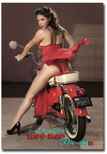 "Honda Cub Pinup Girl Vintage Fridge Magnet Collectible Size 2.5"" x 3.5"""