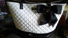 NWT-Betsey Johnson White with Black Quilted Satchel Tote/Handbag with Bow