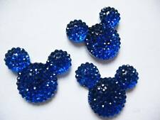 10 x 24MM GLITTER BLUE FLAT BACK RESIN MINNIE MOUSE HEAD GEMS HEADBANDS BOWS
