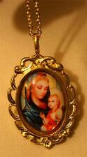 "Lovely Swirled Goldtone ""Stained Glass"" Gold Aura Madonna Mary Jesus Necklace"