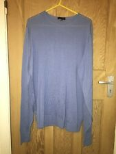 "John Smedley Blue Lightweight Long Merino Wool Jumper Size XL AtoA27"" L30"" *C1"