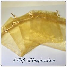 10 GOLD  gift bags 12 cm x 10cm Organzer drawstring, wedding, gifts,jewelery