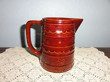 Vtg Marcrest Oven-proof Daisy & Dot Brown Stoneware Pitcher Country Primitive
