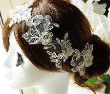 Perles en dentelle de mariée applique à cordon mariage motif floral ivoire sewing trim 1 paire
