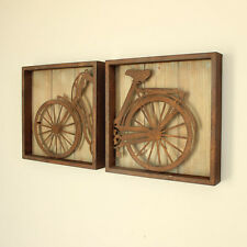 Set of 2 bicycle wall art vintage effect pictures industrial metal rustic frame