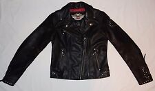 Harley Davidson Women's Motorcycle Black Leather Jacket Size Small Studded - EUC