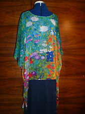 100% silk georgette floaty kaftan/tunic  Klimt's garden of flowers L/XL  NEW