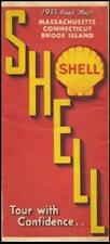 1935 SHELL OIL Road Map MASSACHUSETTS CONNECTICUT RHODE ISLAND Boston Cape Cod