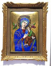 "French LIMOGES ENAMEL PLAQUE ""OUR LADY OF PERPETUAL HEALTH"""