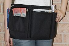 Black Zipper Money Pockets Waterproof Apron For Restaurant Bistro Cafe Waiter