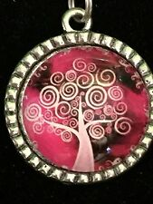 """Tree of Life Pretty in Pink Charm Tibetan Silver with 18"""" Necklace PP1"""