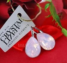 925 STERLING SILVER EARRINGS SWAROVSKI Elements PEAR FANCY STONE WATER OPAL F