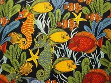 Colorful Fish On Blue B/G by Blank Quilting-1 Yard-Underwater-Plants-Sea