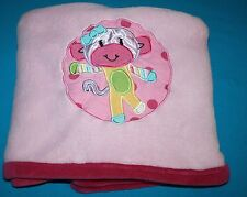 Little Miss Matched PINK MONKEY Soft Plush Baby Girl Blanket Kidsline 30x38""