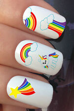 NAIL ART SET #677 x20 RAINBOW CLOUD BABY UNICORN WATER TRANSFER DECALS STICKERS
