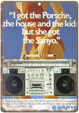 """Sanyo Boombox Ghetto Blaster 10"""" x 7"""" reproduction metal sign"""