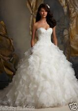 Custom White/ivory Ruffled Organza Applique Bridal Ball Gown Wedding Dress 4-26