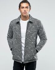 Asos Wool Mix Coach Jacket In Salt And Pepper - Black