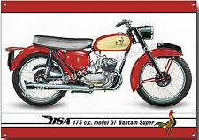 BSA 175CC MODEL D7 BANTAM SUPER METAL SIGN.VINTAGE BRITISH BSA MOTORCYCLES.(A4)
