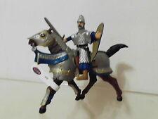 Fantasy Mittelalter 2 x Figur Papo: Ritter blau mit Schwert auf Pferd