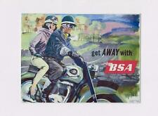"METAL WALL PLAQUE / SIGN GET AWAY WITH BSA MOTORBIKE RETRO  8"" X 6"""